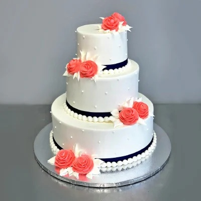 Red Roses with perl Wedding cake
